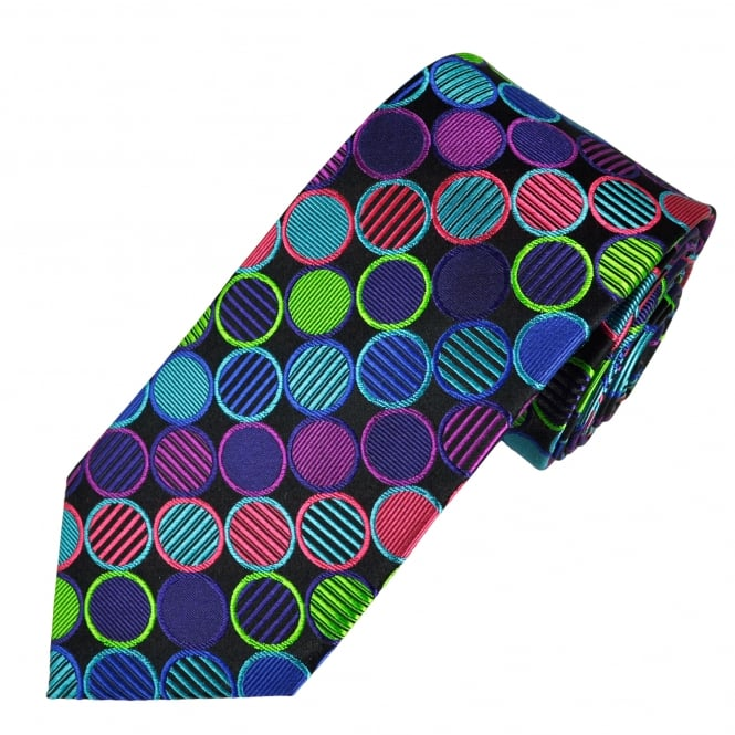 Tresanti Reale Black, Royal Blue, Turquoise, Green, Purple & Pink Circles Patterned Silk Designer Tie