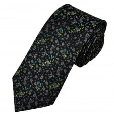 Tresanti Reale Black, Silver, Purple, Fuchsia Pink, Turquoise & Yellow Patterned Silk Designer Tie