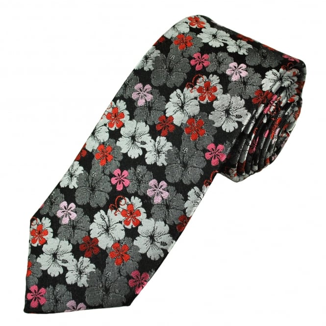 Tresanti Reale Black, Silver, Red & Pink Flower Patterned Silk Designer Tie