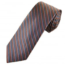Tresanti Reale Blue, Pink, Green, Silver & Orange Zig Zag Patterned Silk Designer Tie