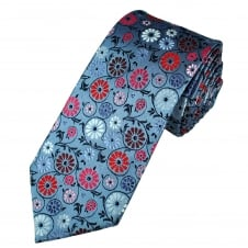 Tresanti Reale Blue, Silver, Red & Pink Flower Patterned Silk Designer Tie