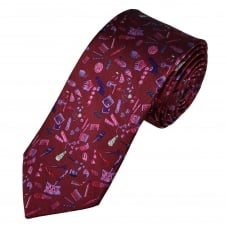 Tresanti Reale Burgundy, Lilac, Purple, Pink, Red & Silver Patterned Silk Designer Tie