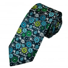 Tresanti Reale Denim Blue, Silver, Green & Turquoise Flower Patterned Silk Designer Tie