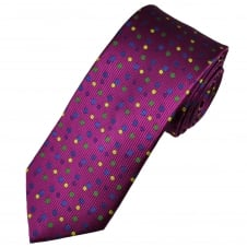 Tresanti Reale Fuchsia Pink, Purple, Yellow, Green & Dark Blue Polka Dot Silk Designer Tie