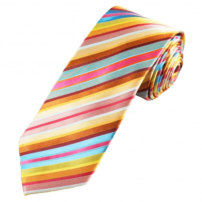 Tresanti Reale Gold, Pink, Yellow, Blue & Grey Striped Silk Designer Tie