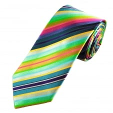 Tresanti Reale Green, Blue, Pink, Gold, Silver & Purple Striped Silk Designer Tie