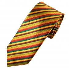 Tresanti Reale Green, Gold, Red & Burgundy Striped Silk Designer Tie