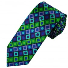 Tresanti Reale Green, Lilac, Purple, Turquoise & Royal Blue Square & Dot Patterned Silk Designer Tie