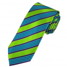 Tresanti Reale Green, Purple, Turquoise & Blue Striped Silk Designer Tie
