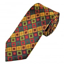 Tresanti Reale Green, Red, Gold & Burgundy Square & Dot Patterned Silk Designer Tie