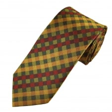 Tresanti Reale Green, Red & Gold Checked Silk Designer Tie