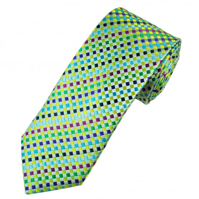 Tresanti Reale Green, Yellow, Turquoise, Purple, Fuchsia Pink, Navy Blue & Silver Checked Silk Designer Tie