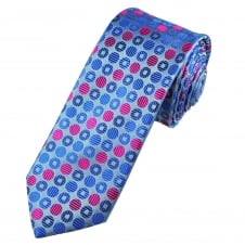 Tresanti Reale Grey, Royal Blue, French Navy & Fuchsia Pink Circles Patterned Silk Designer Tie