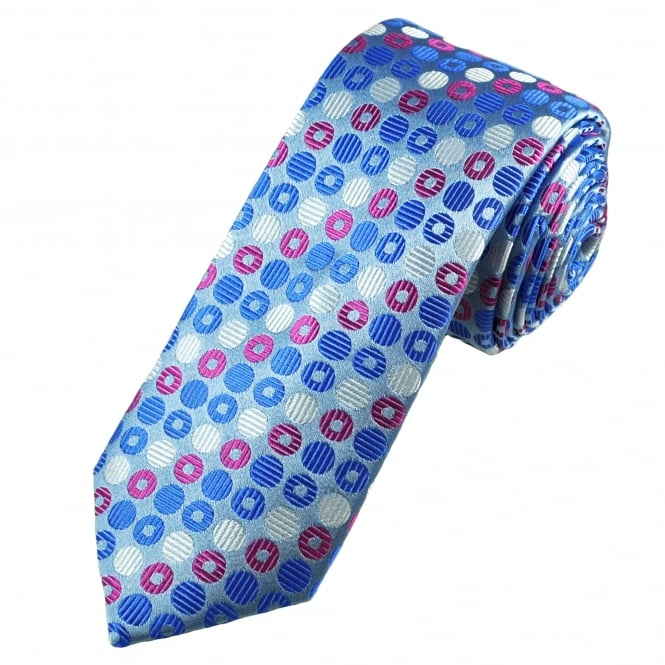 Tresanti Reale Grey, Royal Blue, Silver & Fuchsia Pink Circles Patterned Silk Designer Tie