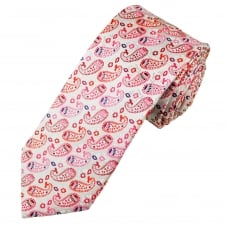 Tresanti Reale Ivory, Red, Pink & Purple Paisley Patterned Silk Designer Tie