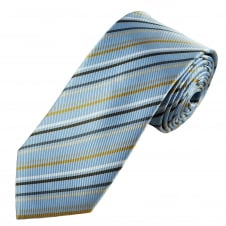 Tresanti Reale Light Blue, Gold, Beige, Grey & Brown Striped Silk Designer Tie