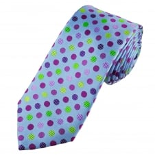Tresanti Reale Light Blue, Green, Lilac & Plum Circles Patterned Silk Designer Tie