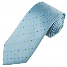 Tresanti Reale Light Blue, Green, Lilac & Plum Polka Dot Silk Designer Tie