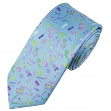 Tresanti Reale Light Blue, Green, White, Lilac & Pink Patterned Silk Designer Tie