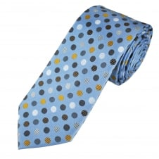 Tresanti Reale Light Blue, Grey, Silver & Gold Circles Pattern Silk Designer Tie