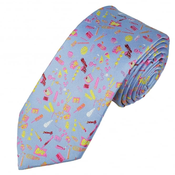 Tresanti Reale Light Blue, Pink, Yellow & Red Patterned Silk Designer Tie