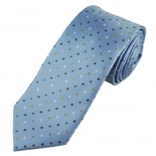 Tresanti Reale Light Blue, Silver, Beige & Brown Polka Dot Silk Designer Tie