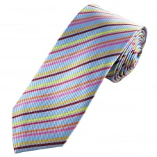 Tresanti Reale Light Blue, Yellow, Coral Pink, Orange, Pink & Burgundy Striped Silk Designer Tie