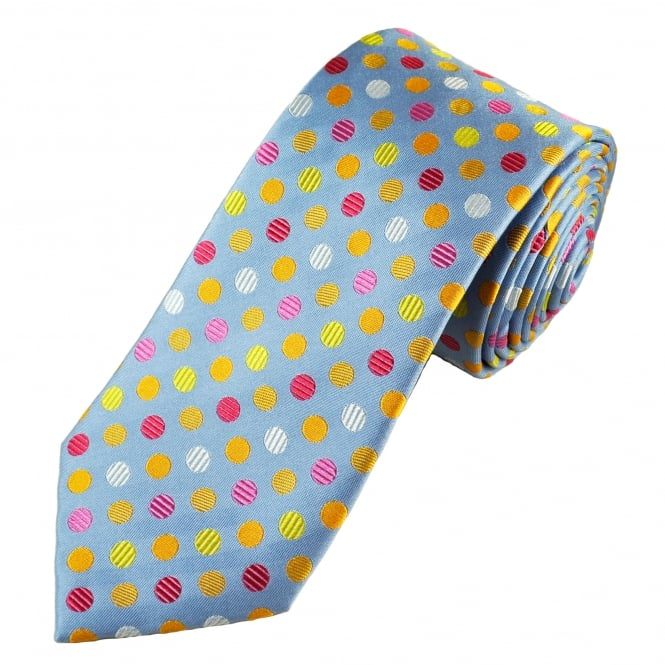 Tresanti Reale Light Blue, Yellow, Gold, Silver, Pink & Coral Pink Silk Designer Tie