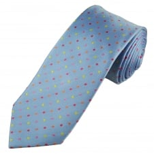 Tresanti Reale Light Blue, Yellow, Orange, Pink & Coral Pink Polka Dot Silk Designer Tie