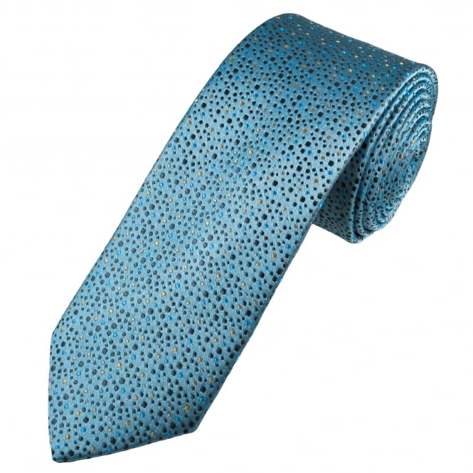 Tresanti Reale Light Grey, Brown, Beige & Blue Spots Patterned Silk Designer Tie
