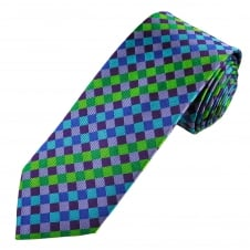 Tresanti Reale Lilac, Purple, Blue, Turquoise & Green Checked Silk Designer Tie