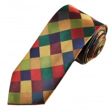 Tresanti Reale Navy Blue, Gold, Red, Burgundy & Green Square Patterned Silk Designer Tie