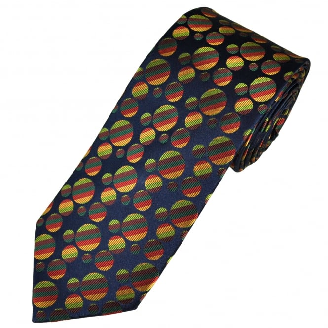 Tresanti Reale Navy Blue, Green, Burgundy, Red & Gold Circles Patterned Silk Designer Tie