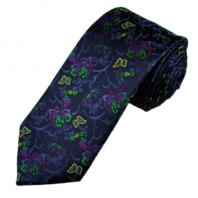 Tresanti Reale Navy Blue, Green & Fuchsia Pink Flower Patterned Silk Designer Tie
