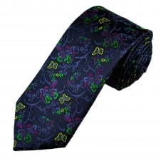 Tresanti Reale Navy Blue, Green & Fuchsia Pink Flower Patterned Silk Designer Tie