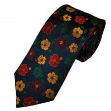 Tresanti Reale Navy Blue, Green, Gold, Red & Burgundy Flower Patterned Silk Designer Tie