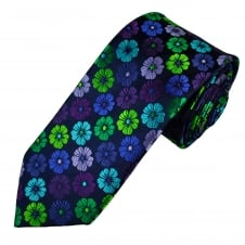 Tresanti Reale Navy Blue, Green, Purple & Turquoise Flower Patterned Silk Designer Tie