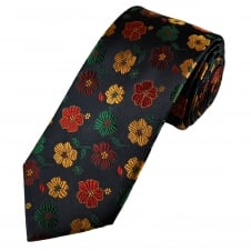 Tresanti Reale Navy Blue, Green, Red, Burgundy & Beige Flower Patterned Silk Designer Tie