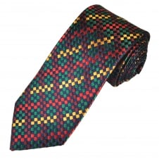 Tresanti Reale Navy Blue, Green, Red, Burgundy & Gold Checked Silk Designer Tie