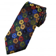 Tresanti Reale Navy Blue, Green, Red, Burgundy, Royal Blue & Gold Flower Patterned Silk Designer Tie