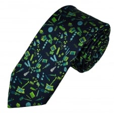 Tresanti Reale Navy Blue, Green & Turquoise Patterned Silk Designer Tie