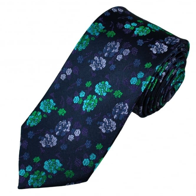 Tresanti Reale Navy Blue, Green, Turquoise, Purple & Lilac Flower Patterned Silk Designer Tie