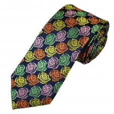 Tresanti Reale Navy Blue, Green, Yellow, Pink & Orange Roses Pattern Silk Designer Tie