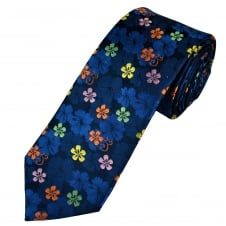 Tresanti Reale Navy Blue, Orange, Pink & Green Flower Patterned Silk Designer Tie