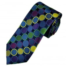 Tresanti Reale Navy Blue, Purple, Green & Fuchsia Pink Circles Patterned Silk Designer Tie