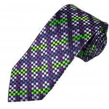 Tresanti Reale Navy Blue, Purple, Lilac & Green Checked Silk Designer Tie