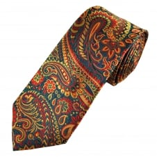 Tresanti Reale Navy Blue, Red, Green & Gold Paisley Pattern Silk Designer Tie