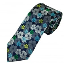 Tresanti Reale Navy Blue, Silver, Green & Turquoise Flower Patterned Silk Designer Tie