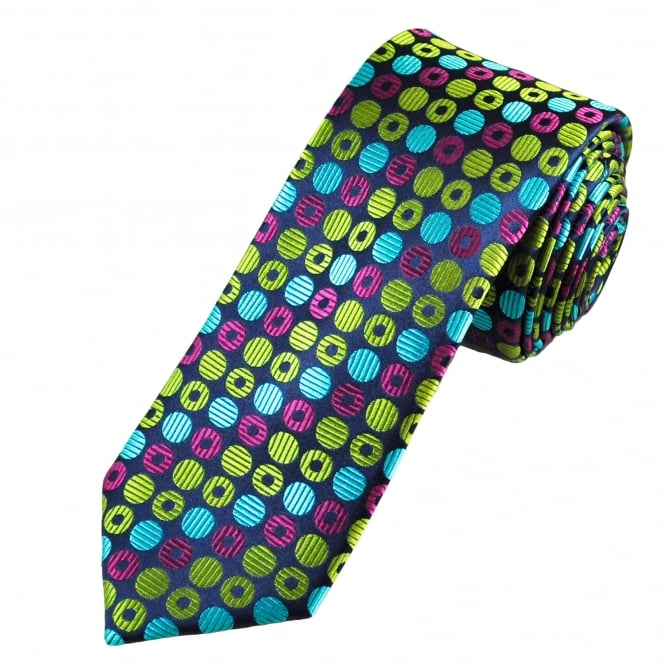 Tresanti Reale Navy Blue, Turquoise, Green & Fuchsia Pink Circles Patterned Silk Designer Tie