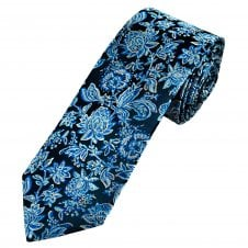 6aefcd27ff03 Tresanti Reale Navy Blue with Silver & Blue Flowers Men's Silk Designer Tie